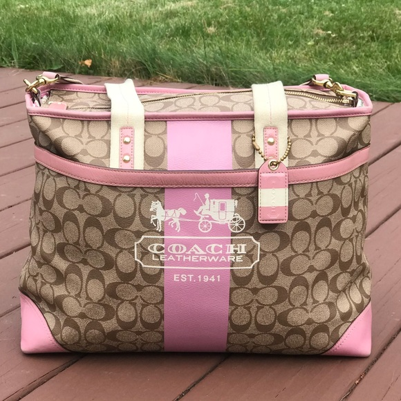 ca9ce5ae3ff6 Coach Handbags - Coach Pink Heritage Stripe Baby Bag   Travel Bag